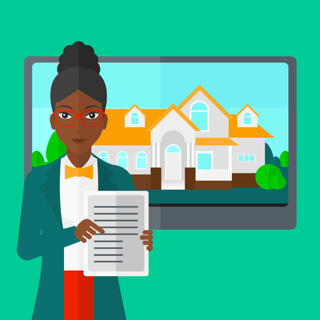 big screen: An african-american woman standing in front of big screen with house photo and holding a tablet computer in hands on a light green background vector flat design illustration. Square layout.