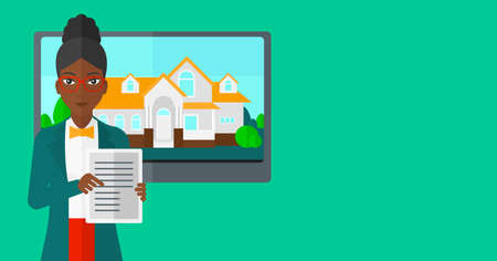 big screen: An african-american woman standing in front of big screen with house photo and holding a tablet computer in hands on a light green background vector flat design illustration. Horizontal layout.