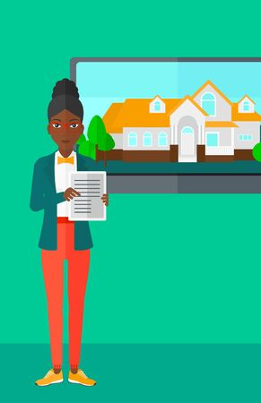 big screen: An african-american woman standing in front of big screen with house photo and holding a tablet computer in hands on a light green background vector flat design illustration. Vertical layout.