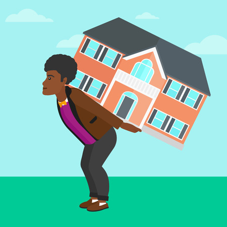An african-american man carrying a big house on his back on a sky background vector flat design illustration. Square layout.