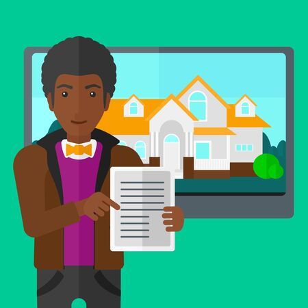 big screen: An african-american man standing in front of big screen with house photo and holding a tablet computer in hands on a light green background vector flat design illustration. Square layout.