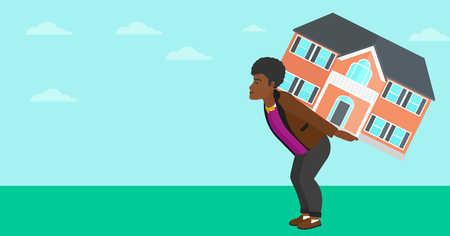 An african-american man carrying a big house on his back on a sky background vector flat design illustration. Horizontal layout. Ilustrace