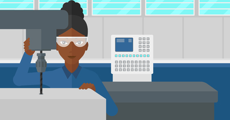 drilling machine: An african-american woman working with a drilling machine at factory workshop background vector flat design illustration. Horizontal layout.