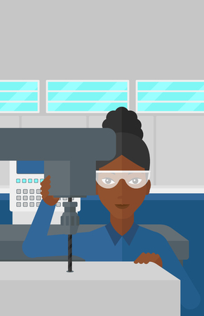 metalworking: An african-american woman working with a drilling machine at factory workshop background vector flat design illustration. Vertical layout.