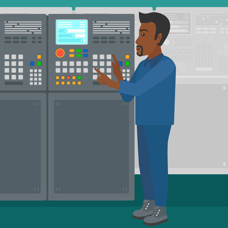 An african-american man working on control panel at factory workshop vector flat design illustration. Square layout.