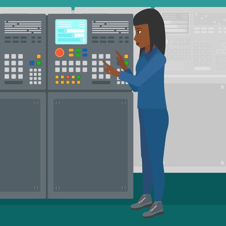 ingeniero electrico: Una mujer afroamericana de trabajo con el panel de control en la fábrica taller de ilustración vectorial diseño plano. de planta cuadrada. Vectores