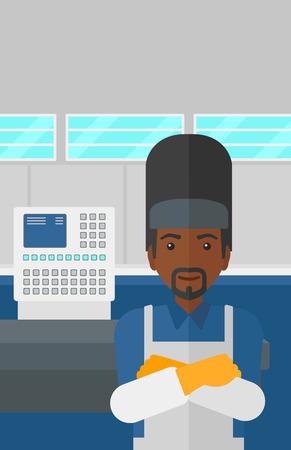 An african-american welder at factory workshop background vector flat design illustration. Vertical layout.