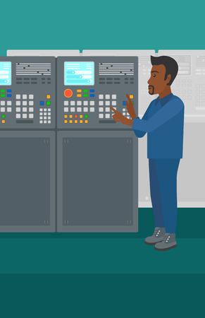 flat panel: An african-american man working on control panel at factory workshop vector flat design illustration. Vertical layout. Illustration
