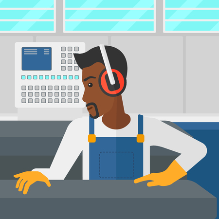 steel mill: An african-american man working on a steel-rolling mill at factory workshop background vector flat design illustration. Square layout.