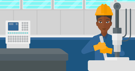 An african-american woman working with an industrial equipment at factory workshop background vector flat design illustration. Horizontal layout.