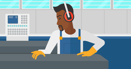 An african-american man working on a steel-rolling mill at factory workshop background vector flat design illustration. Horizontal layout.
