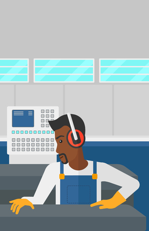 An african-american man working on a steel-rolling mill at factory workshop background vector flat design illustration. Vertical layout.
