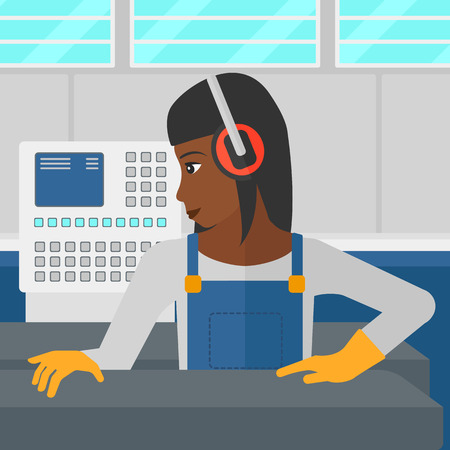 An african-american woman working on a steel-rolling mill at factory workshop background vector flat design illustration. Square layout.