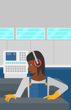 An african-american woman working on a steel-rolling mill at factory workshop background vector flat design illustration. Vertical layout. Иллюстрация