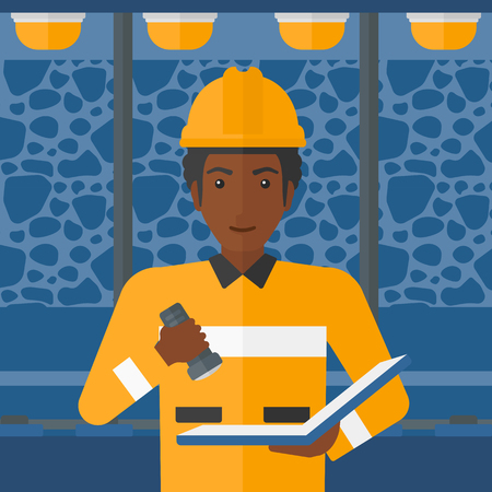 checking: An african-american man checking a paper plan with the flashlight on the background of mining tunnel with lights and rails vector flat design illustration. Square layout.