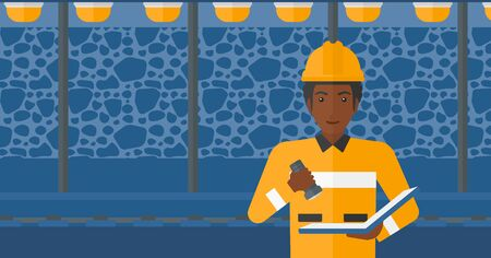inspector: An african-american man checking a paper plan with the flashlight on the background of mining tunnel with lights and rails vector flat design illustration. Horizontal layout.