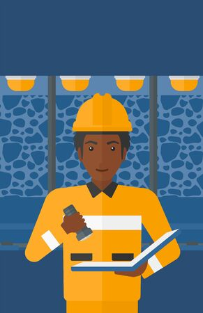 An african-american man checking a paper plan with the flashlight on the background of mining tunnel with lights and rails vector flat design illustration. Vertical layout. Ilustração