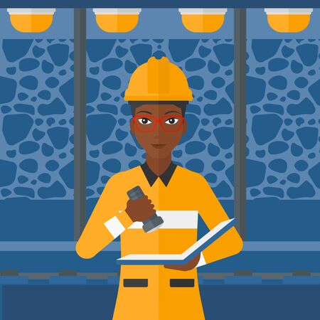 An african-american woman checking a paper plan with the flashlight on the background of mining tunnel with lights and rails vector flat design illustration. Square layout.