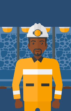 An african-american man in hardhat with torch on the background of mining tunnel with lights and rails vector flat design illustration. Vertical layout.