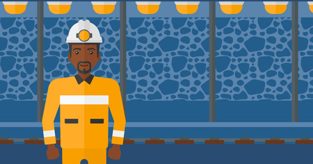 mine lamp: An african-american man in hardhat with torch on the background of mining tunnel with lights and rails vector flat design illustration. Horizontal layout.