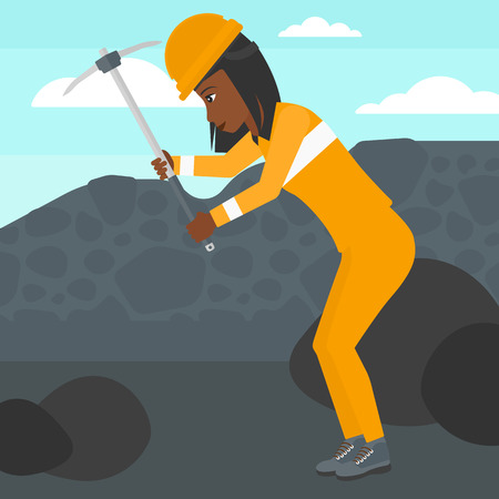An african-american woman working with a pickaxe on the background of coal mine vector flat design illustration. Square layout.