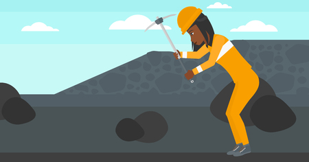 coal mine: An african-american woman working with a pickaxe on the background of coal mine vector flat design illustration. Horizontal layout. Illustration