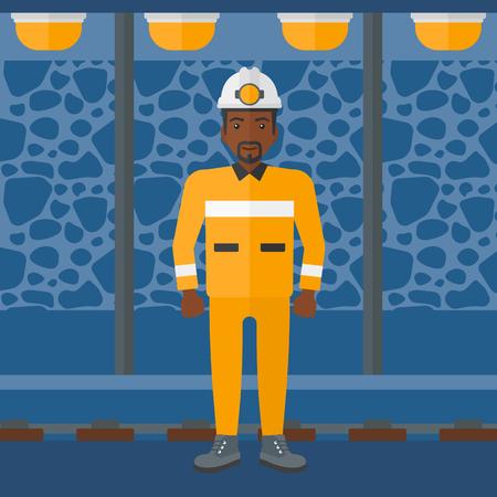 Un hombre afroamericano en sombrero duro con la antorcha en el fondo del túnel de la mina con las luces y los carriles Ilustración del vector del diseño plano. de planta cuadrada.