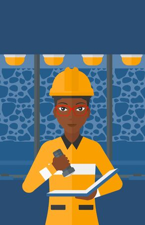 checking: An african-american woman checking a paper plan with the flashlight on the background of mining tunnel with lights and rails vector flat design illustration. Vertical layout.