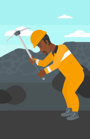 pickaxe: An african-american man working with a pickaxe on the background of coal mine vector flat design illustration. Vertical layout. Illustration