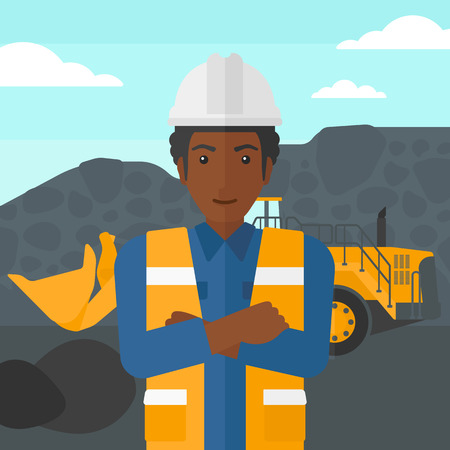 mining equipment: An african-american miner standing in front of a big mining equipment on the background of coal mine vector flat design illustration. Square layout.