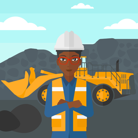 mining equipment: An african-american woman standing in front of a big mining equipment on the background of coal mine vector flat design illustration. Square layout.