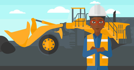 mining equipment: An african-american woman standing in front of a big mining equipment on the background of coal mine vector flat design illustration. Horizontal layout.