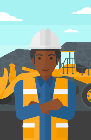 mining equipment: An african-american miner standing in front of a big mining equipment on the background of coal mine vector flat design illustration. Vertical layout.
