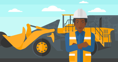 mining equipment: An african-american miner standing in front of a big mining equipment on the background of coal mine vector flat design illustration. Horizontal layout.