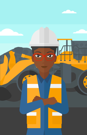 mining equipment: An african-american woman standing in front of a big mining equipment on the background of coal mine vector flat design illustration. Vertical layout.