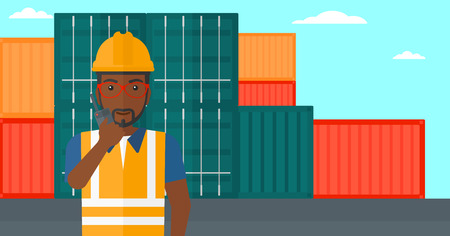 docker: An african-american man talking to a portable radio on cargo containers background vector flat design illustration. Horizontal layout.