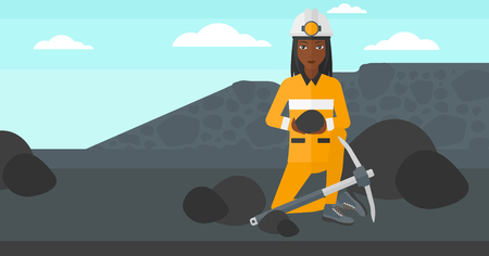 mattock: An african-american woman sitting with coal in hands and a pickaxe on the background of coal mine vector flat design illustration. Horizontal layout.