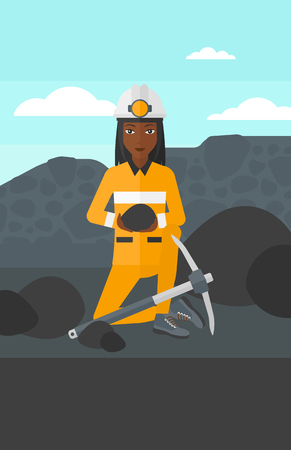 coal mine: An african-american woman sitting with coal in hands and a pickaxe on the background of coal mine vector flat design illustration. Vertical layout.