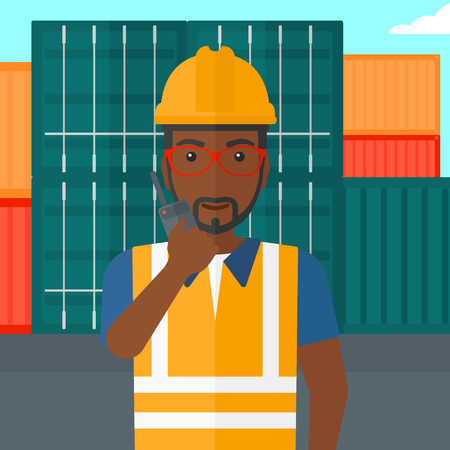 portable radio: An african-american man talking to a portable radio on cargo containers background vector flat design illustration. Square layout.