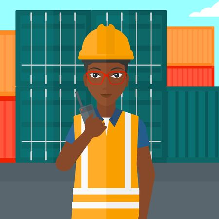 An african-american woman talking to a portable radio on cargo containers background vector flat design illustration. Square layout.