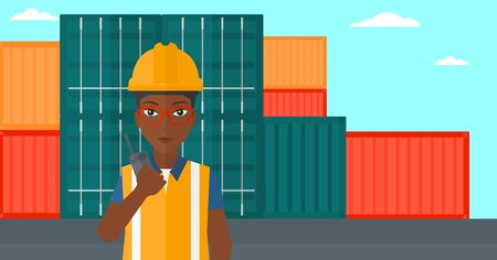 An african-american woman talking to a portable radio on cargo containers background vector flat design illustration. Horizontal layout.