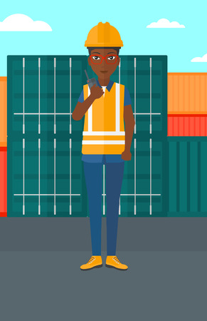 portable radio: An african-american woman talking to a portable radio on cargo containers background vector flat design illustration. Vertical layout. Illustration