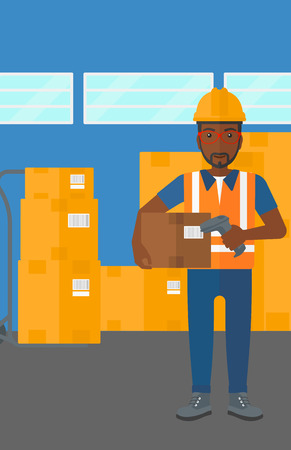 An african-american man checking barcode of a box with a scanner on the background of cardboard boxes in warehouse vector flat design illustration. Vertical layout. Ilustracja