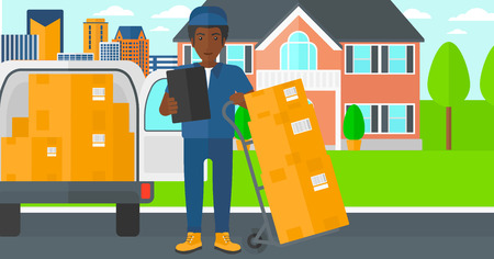shipper: An african-american delivery man standing near cart with boxes and holding a file in a hand on the background of delivery truck and a house vector flat design illustration. Horizontal layout. Illustration