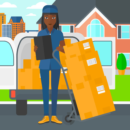 shipper: An african-american delivery woman standing near cart with boxes and holding a file in a hand on the background of delivery truck and a house vector flat design illustration. Square layout.
