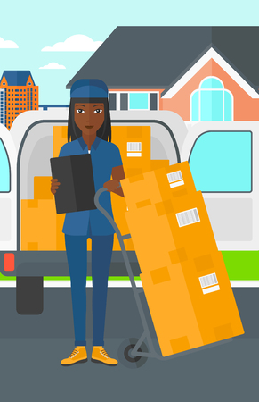 shipper: An african-american delivery woman standing near cart with boxes and holding a file in a hand on the background of delivery truck and a house vector flat design illustration. Vertical layout. Illustration