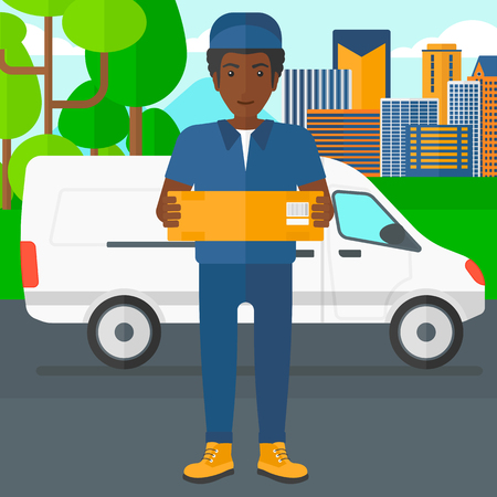 man carrying box: An african-american delivery man carrying box on the background of the city and delivery truck vector flat design illustration. Square layout.