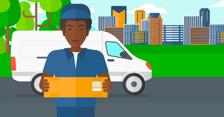 shipper: An african-american delivery man carrying box on the background of the city and delivery truck vector flat design illustration. Horizontal layout.