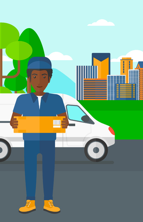 man carrying box: An african-american delivery man carrying box on the background of the city and delivery truck vector flat design illustration. Vertical layout.