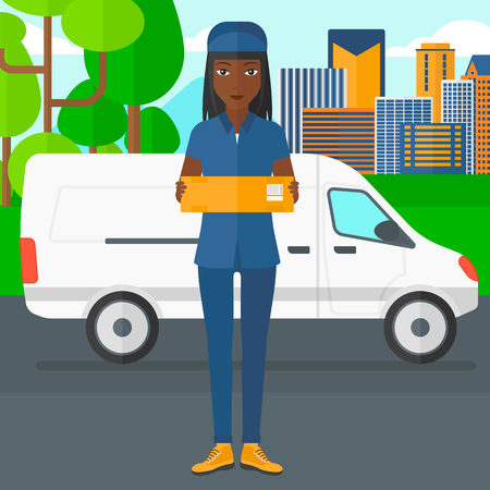 An african-american delivery woman carrying box on the background of the city and delivery truck vector flat design illustration. Square layout.